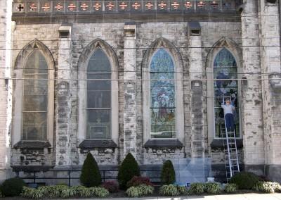 The outside restoration.