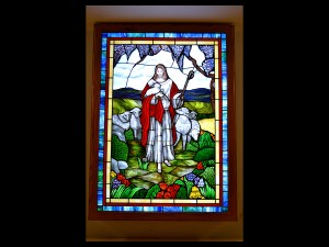 Religious Backlit Window by State of the Art Stained Glass Studio