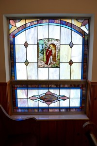 Religious Hand Painted Window by State of the Art Stained Glass Studio