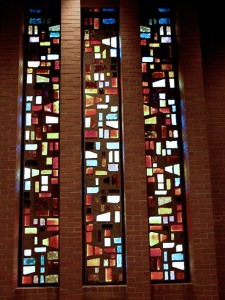 Religious Faceted Window by State of the Art Stained Glass Studio